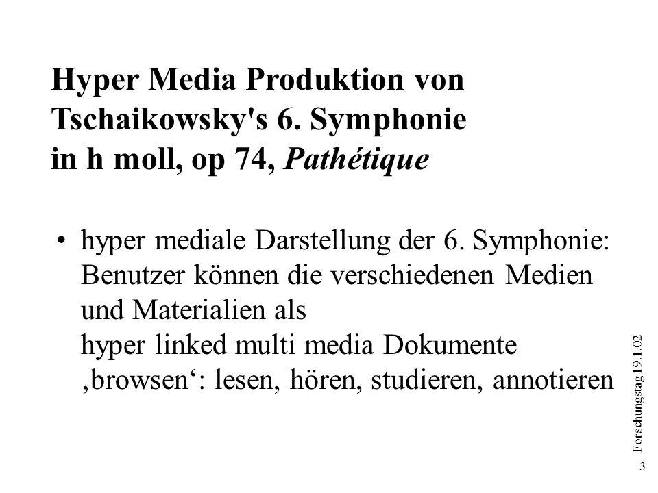 Forschungstag 19.1.02 3 hyper mediale Darstellung der 6. Symphonie: Benutzer können die verschiedenen Medien und Materialien als hyper linked multi me
