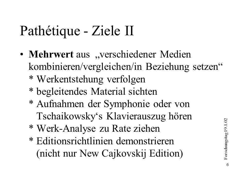 Forschungstag 19.1.02 6 Pathétique - Ziele II Mehrwert aus verschiedener Medien kombinieren/vergleichen/in Beziehung setzen * Werkentstehung verfolgen