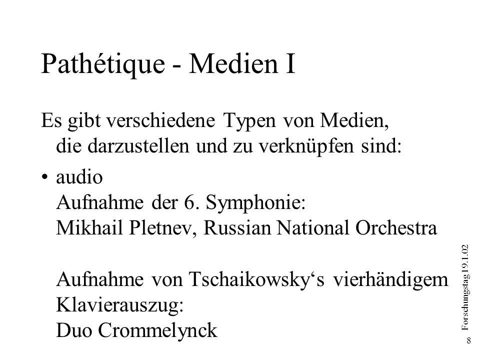 Forschungstag 19.1.02 8 Pathétique - Medien I Es gibt verschiedene Typen von Medien, die darzustellen und zu verknüpfen sind: audio Aufnahme der 6. Sy