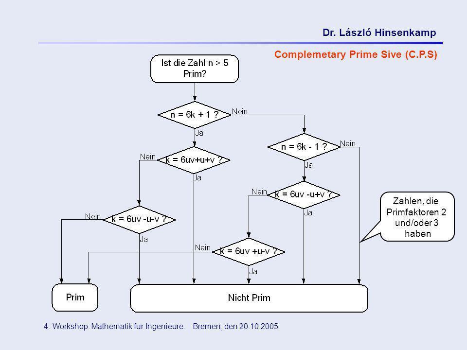 Dr. László Hinsenkamp 4. Workshop. Mathematik für Ingenieure. Bremen, den 20.10.2005 Complemetary Prime Sive (C.P.S) Zahlen, die Primfaktoren 2 und/od