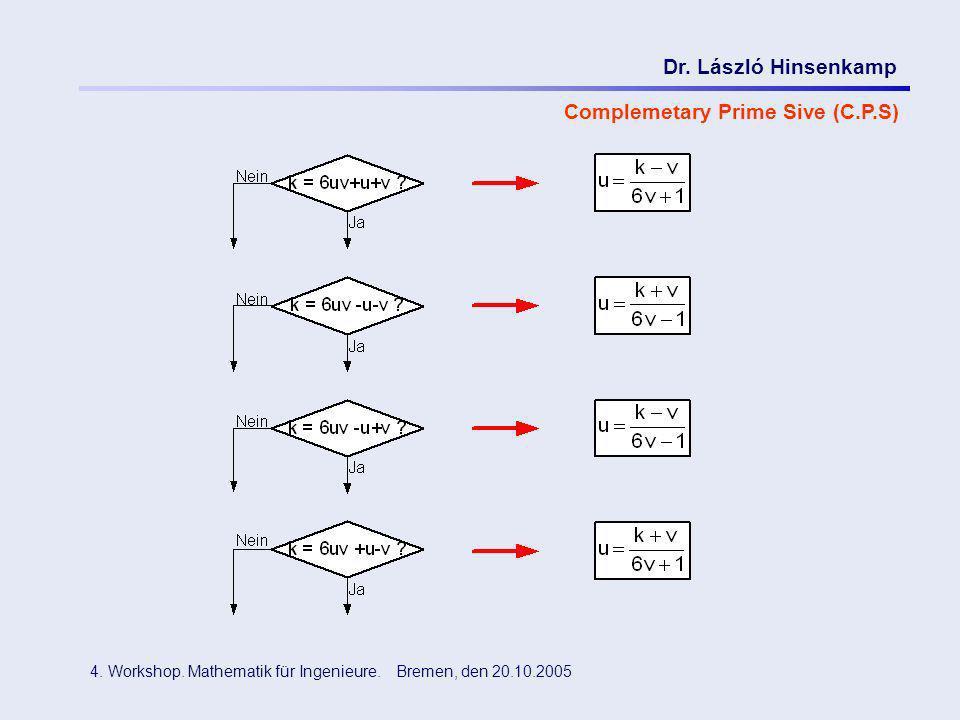 Dr. László Hinsenkamp 4. Workshop. Mathematik für Ingenieure. Bremen, den 20.10.2005 Complemetary Prime Sive (C.P.S)
