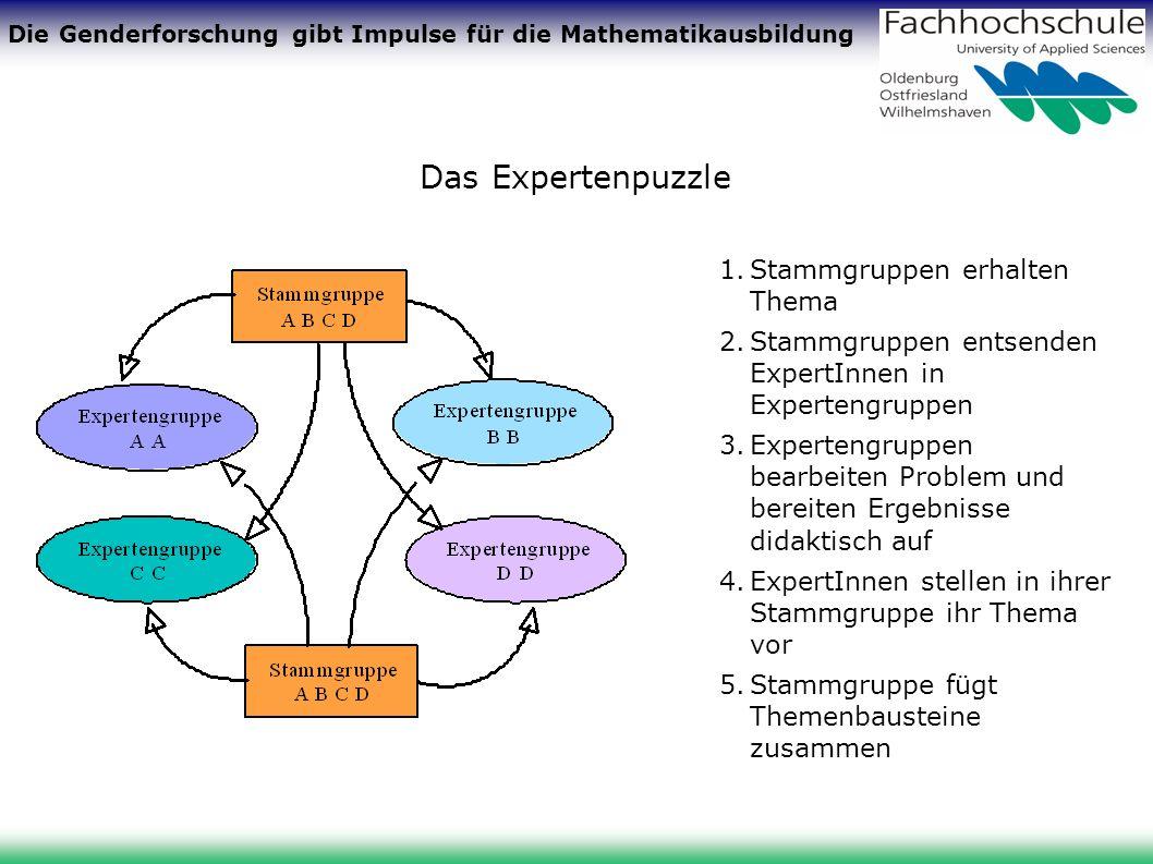 Die Genderforschung gibt Impulse für die Mathematikausbildung Das Expertenpuzzle 1.Stammgruppen erhalten Thema 2.Stammgruppen entsenden ExpertInnen in