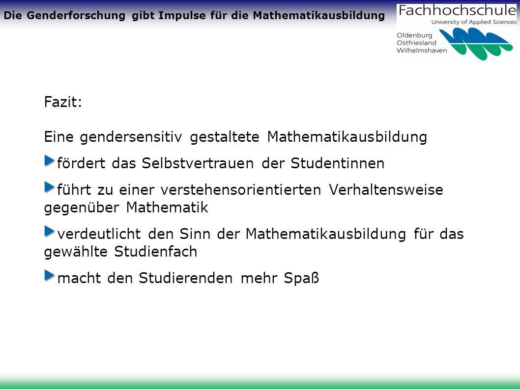 Die Genderforschung gibt Impulse für die Mathematikausbildung Fazit: Eine gendersensitiv gestaltete Mathematikausbildung fördert das Selbstvertrauen der Studentinnen führt zu einer verstehensorientierten Verhaltensweise gegenüber Mathematik verdeutlicht den Sinn der Mathematikausbildung für das gewählte Studienfach macht den Studierenden mehr Spaß