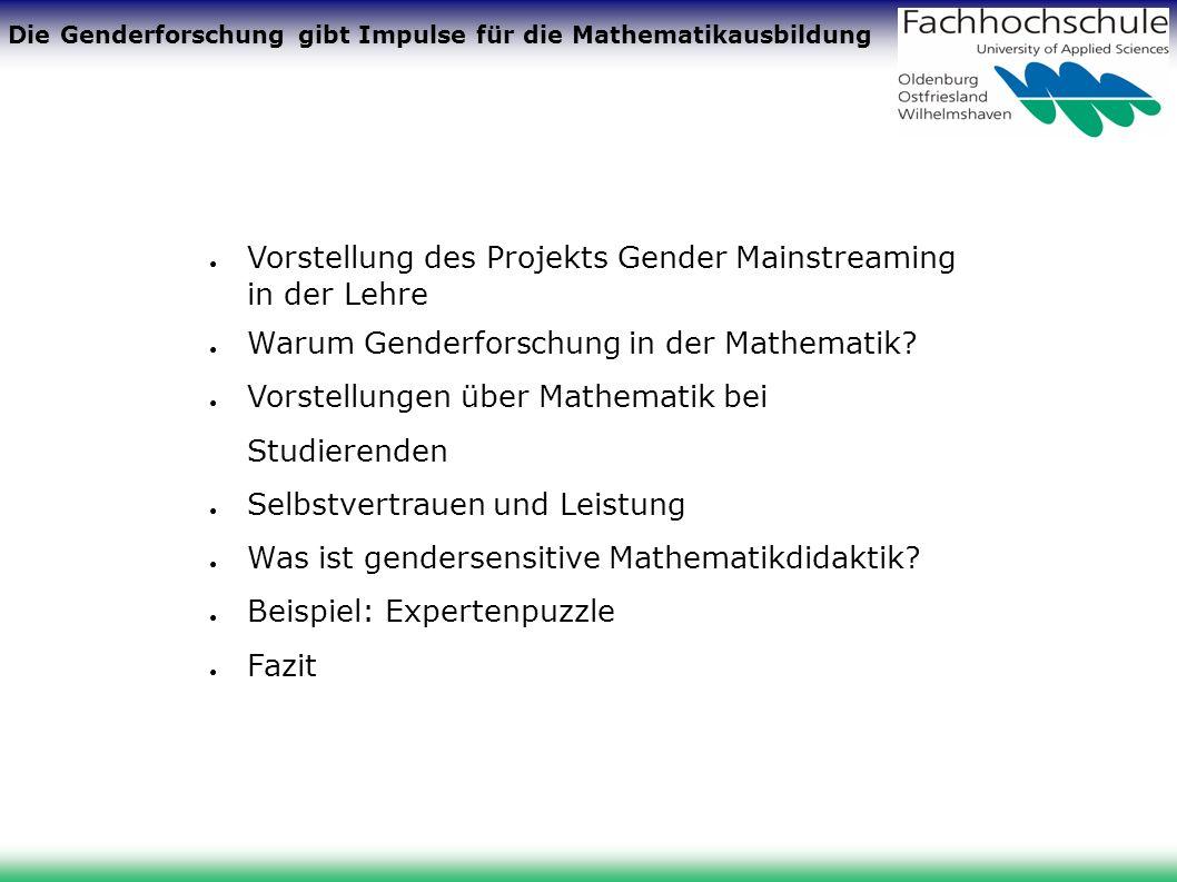 Die Genderforschung gibt Impulse für die Mathematikausbildung Vorstellung des Projekts Gender Mainstreaming in der Lehre Warum Genderforschung in der