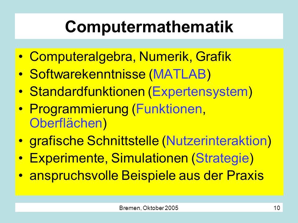 Bremen, Oktober 2005 10 Computermathematik Computeralgebra, Numerik, Grafik Softwarekenntnisse (MATLAB) Standardfunktionen (Expertensystem) Programmie