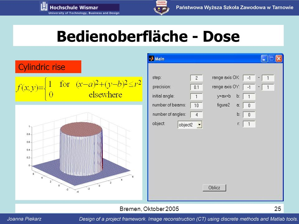 Bremen, Oktober 2005 25 Bedienoberfläche - Dose Cylindric rise