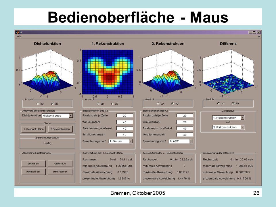 Bremen, Oktober 2005 26 Bedienoberfläche - Maus