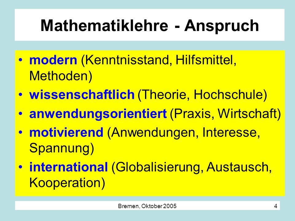 Bremen, Oktober 2005 4 Mathematiklehre - Anspruch modern (Kenntnisstand, Hilfsmittel, Methoden) wissenschaftlich (Theorie, Hochschule) anwendungsorien