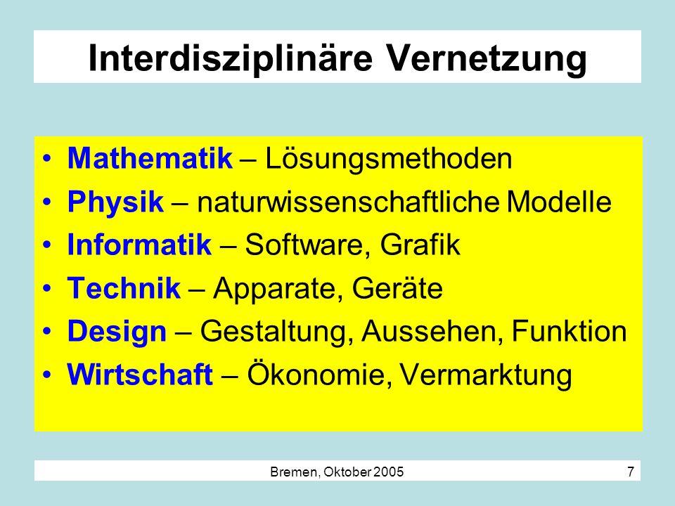 Bremen, Oktober 2005 7 Interdisziplinäre Vernetzung Mathematik – Lösungsmethoden Physik – naturwissenschaftliche Modelle Informatik – Software, Grafik