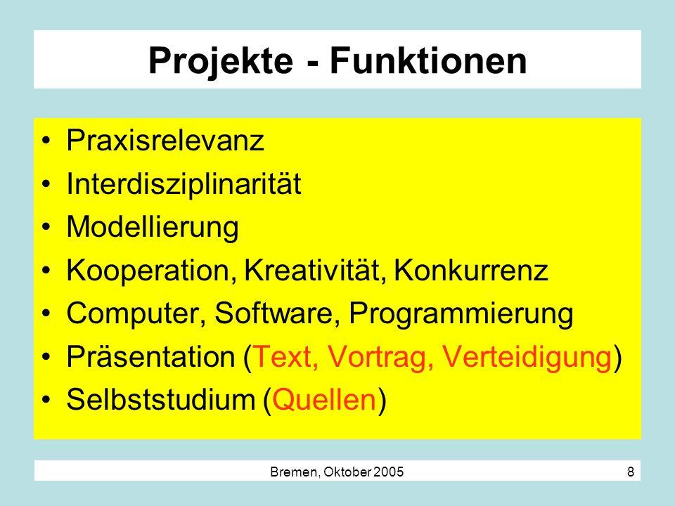 Bremen, Oktober 2005 8 Projekte - Funktionen Praxisrelevanz Interdisziplinarität Modellierung Kooperation, Kreativität, Konkurrenz Computer, Software,