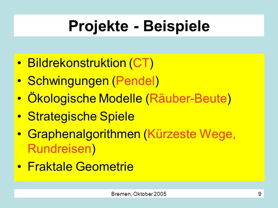 Bremen, Oktober 2005 9 Projekte - Beispiele Bildrekonstruktion (CT) Schwingungen (Pendel) Ökologische Modelle (Räuber-Beute) Strategische Spiele Graph