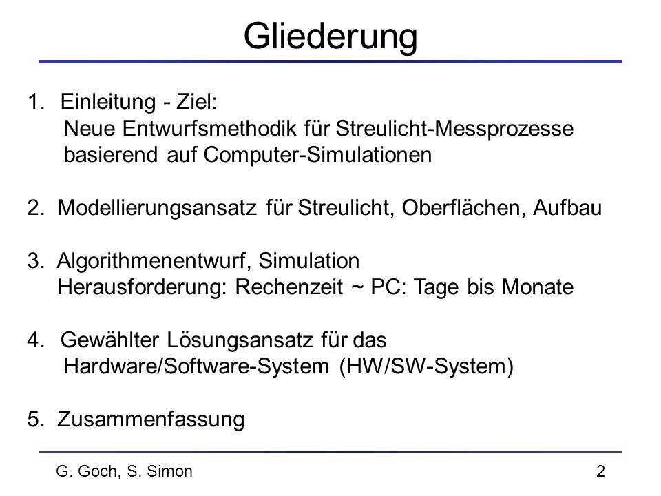 G. Goch, S. Simon2 Gliederung 1.Einleitung - Ziel: Neue Entwurfsmethodik für Streulicht-Messprozesse basierend auf Computer-Simulationen 2. Modellieru