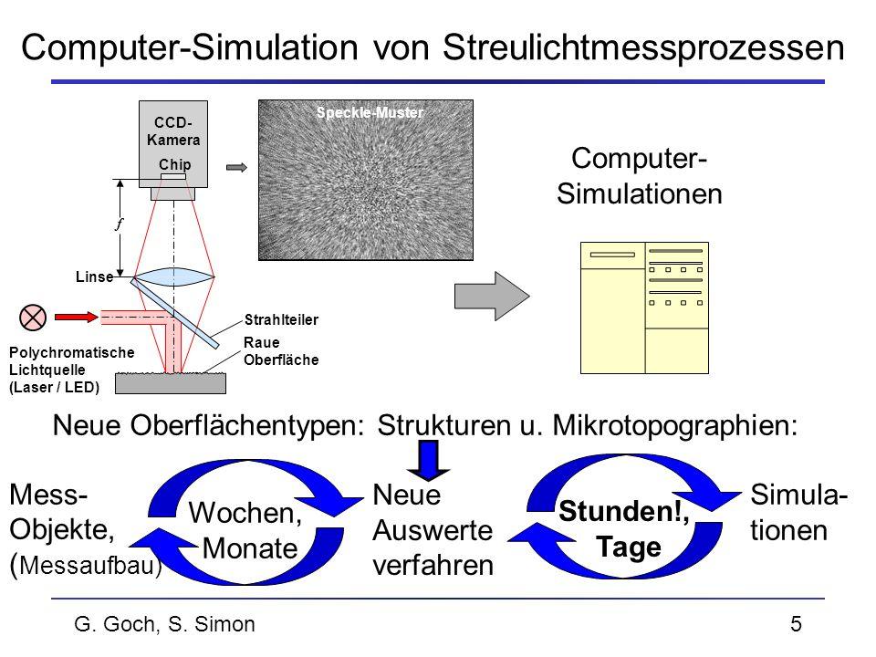 G. Goch, S. Simon5 Computer-Simulation von Streulichtmessprozessen Computer- Simulationen Mess- Objekte, ( Messaufbau) Wochen, Monate Stunden!, Tage S