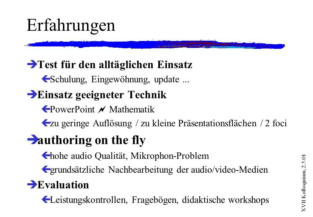 XVII Kolloquium, 2.5.01 Erfahrungen èTest für den alltäglichen Einsatz çSchulung, Eingewöhnung, update... èEinsatz geeigneter Technik çPowerPoint Math