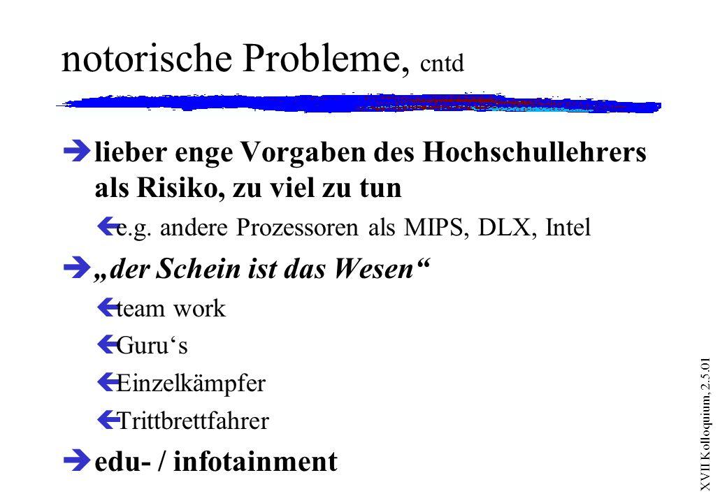 XVII Kolloquium, 2.5.01 notorische Probleme, cntd è lieber enge Vorgaben des Hochschullehrers als Risiko, zu viel zu tun çe.g. andere Prozessoren als
