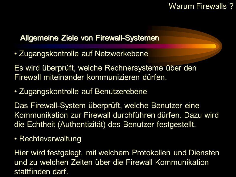 Analogie zur Firewall Brandschutzmauer Man kann ein elektronisches Firewall-System wie eine Brandschutzmauer betrachten, die dafür zuständig ist, eine