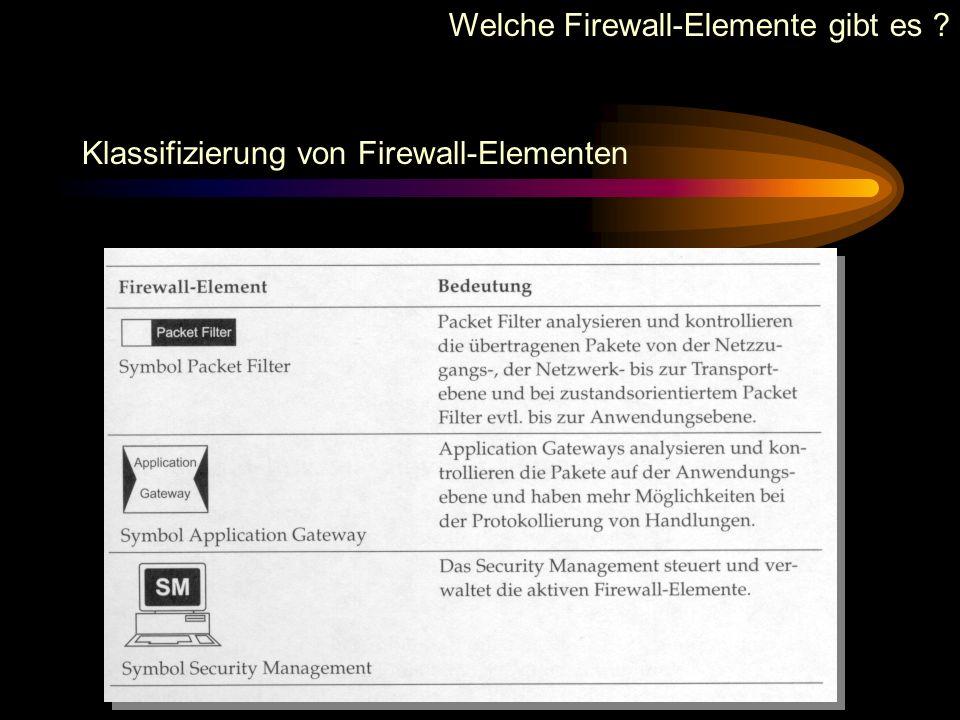 Welche Firewall-Elemente gibt es ?