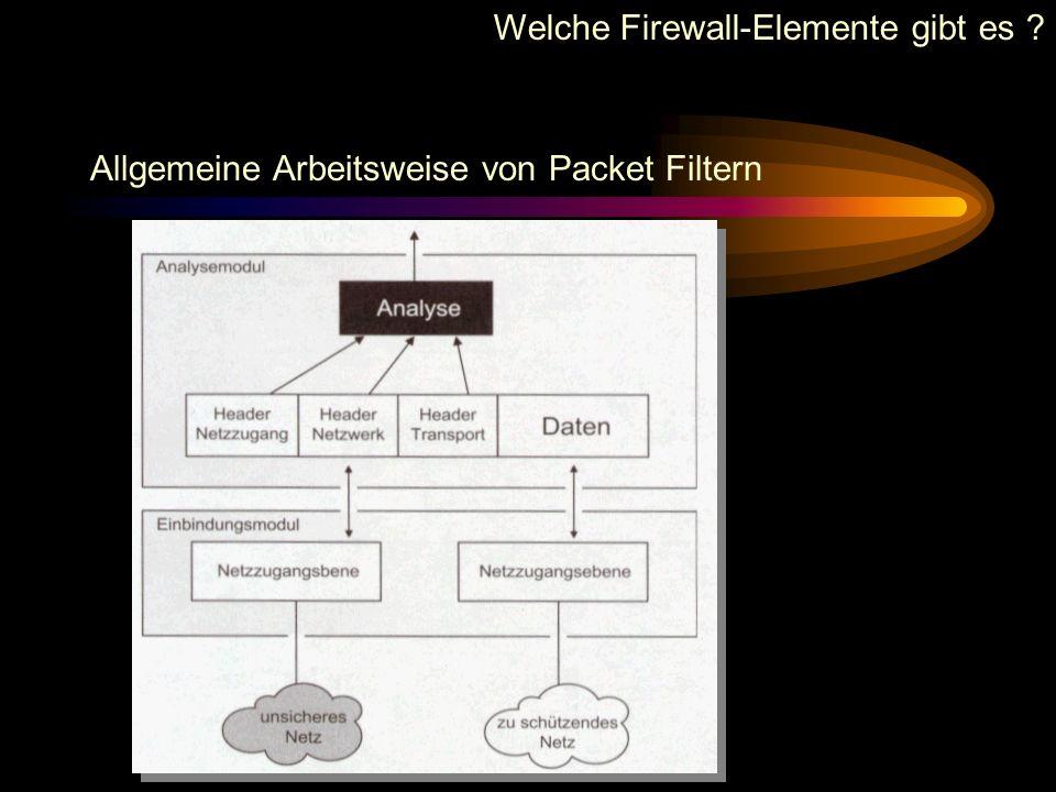 Welche Firewall-Elemente gibt es ? Allgemeine Arbeitsweise von Packet Filtern Ein Packet-Filter prüft: Es wird überprüft, von welcher Seite das Packet
