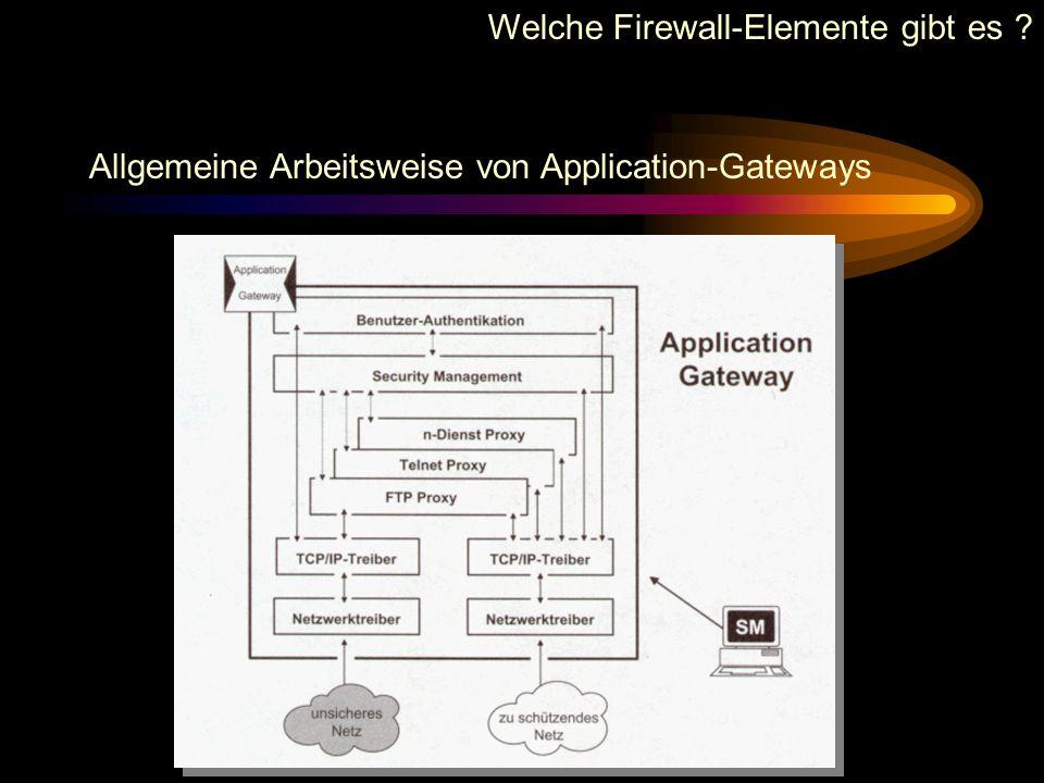 Welche Firewall-Elemente gibt es ? Nachteile von Packet Filtern Daten oberhalb der Transportebene werden nicht analysiert. Keine direkte Sicherheit be