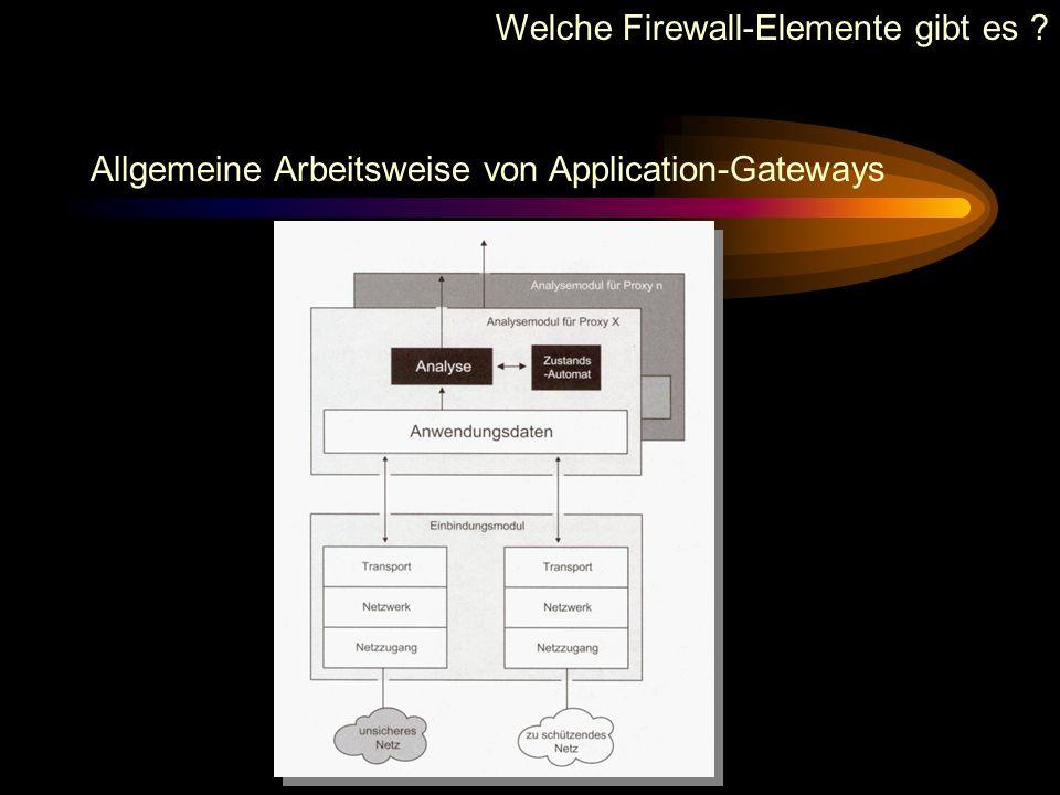 Allgemeine Arbeitsweise von Application-Gateways Welche Firewall-Elemente gibt es ?