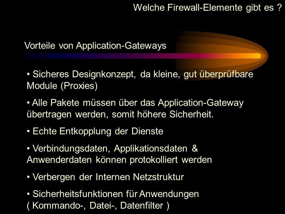 Welche Firewall-Elemente gibt es ? Beispiel eines Proxy-Dienstes : TELNET