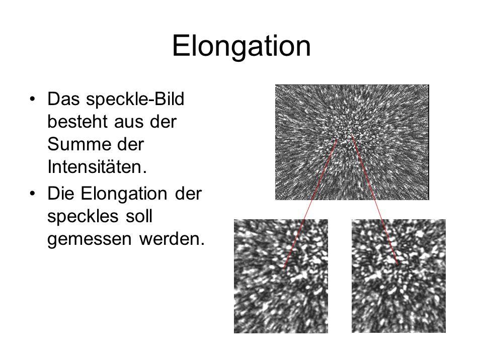Elongation Das speckle-Bild besteht aus der Summe der Intensitäten. Die Elongation der speckles soll gemessen werden.