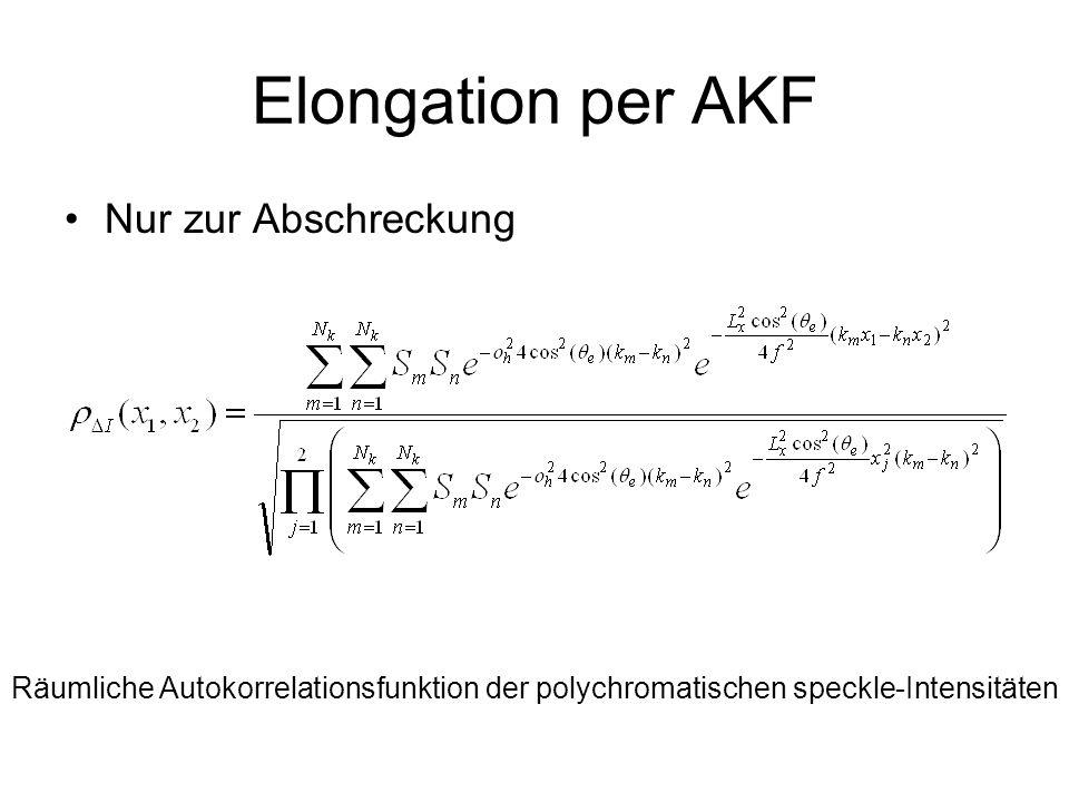 Elongation per AKF Nur zur Abschreckung Räumliche Autokorrelationsfunktion der polychromatischen speckle-Intensitäten