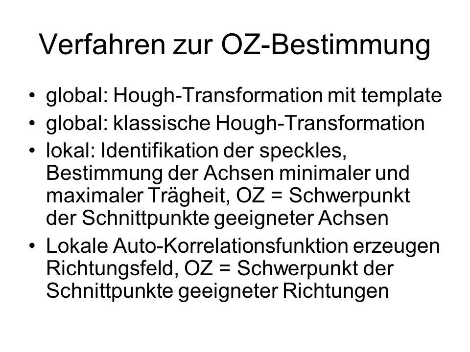 Verfahren zur OZ-Bestimmung global: Hough-Transformation mit template global: klassische Hough-Transformation lokal: Identifikation der speckles, Best