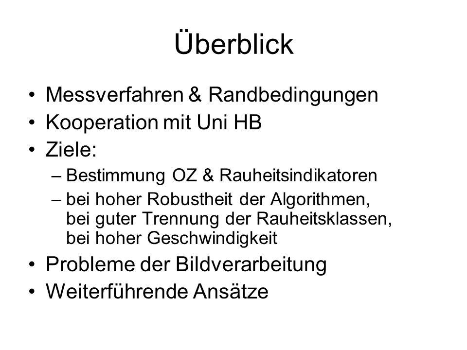 Überblick Messverfahren & Randbedingungen Kooperation mit Uni HB Ziele: –Bestimmung OZ & Rauheitsindikatoren –bei hoher Robustheit der Algorithmen, be