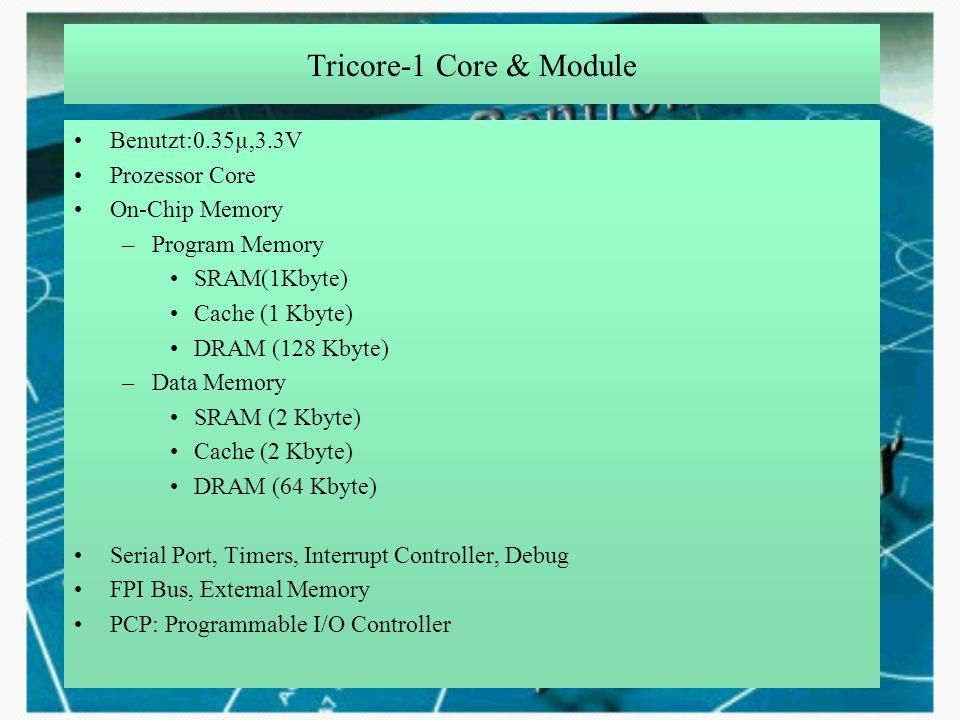Tricore-1 Core & Module Benutzt:0.35µ,3.3V Prozessor Core On-Chip Memory –Program Memory SRAM(1Kbyte) Cache (1 Kbyte) DRAM (128 Kbyte) –Data Memory SR