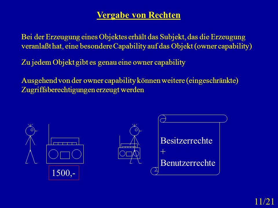 Vergabe von Rechten Bei der Erzeugung eines Objektes erhält das Subjekt, das die Erzeugung veranlaßt hat, eine besondere Capability auf das Objekt (ow