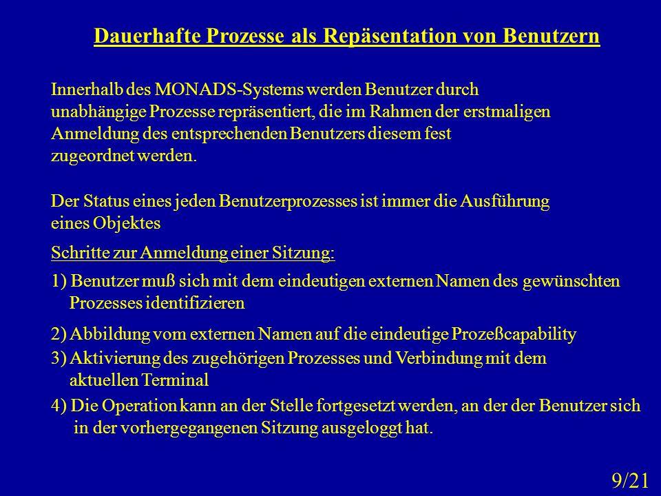 Dauerhafte Prozesse als Repäsentation von Benutzern Innerhalb des MONADS-Systems werden Benutzer durch unabhängige Prozesse repräsentiert, die im Rahm