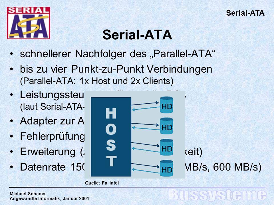 Michael Schams Angewandte Informatik, Januar 2001 Serial-ATA schnellerer Nachfolger des Parallel-ATA bis zu vier Punkt-zu-Punkt Verbindungen (Parallel-ATA: 1x Host und 2x Clients) Serial-ATA Leistungssteuerung für mobile PCs (laut Serial-ATA-Spezifikation) Adapter zur Abwärtskompatibilität Fehlerprüfung und Fehlerkorrektur Erweiterung (z.B.