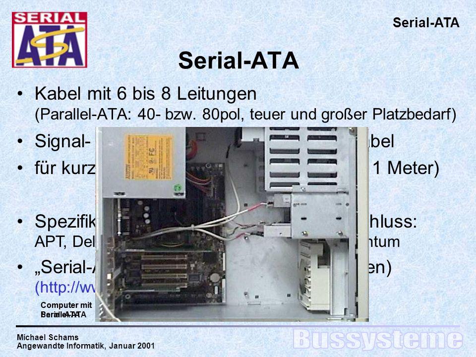 Michael Schams Angewandte Informatik, Januar 2001 Serial-ATA Kabel mit 6 bis 8 Leitungen (Parallel-ATA: 40- bzw.