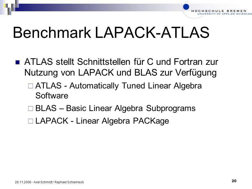 20 26.11.2006 - Axel Schmidt / Raphael Schlameuß Benchmark LAPACK-ATLAS ATLAS stellt Schnittstellen für C und Fortran zur Nutzung von LAPACK und BLAS