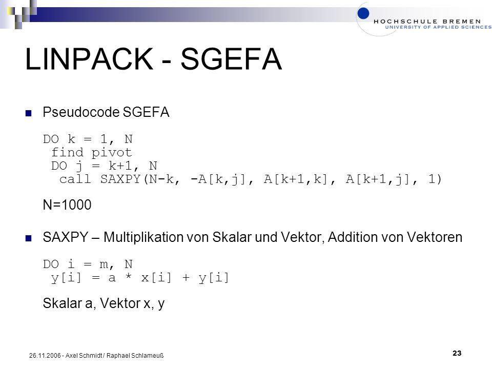 23 26.11.2006 - Axel Schmidt / Raphael Schlameuß LINPACK - SGEFA Pseudocode SGEFA DO k = 1, N find pivot DO j = k+1, N call SAXPY(N-k, -A[k,j], A[k+1,