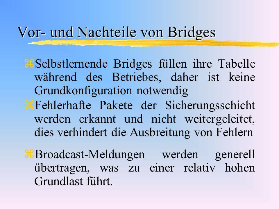 Vor- und Nachteile von Bridges zSelbstlernende Bridges füllen ihre Tabelle während des Betriebes, daher ist keine Grundkonfiguration notwendig zFehler