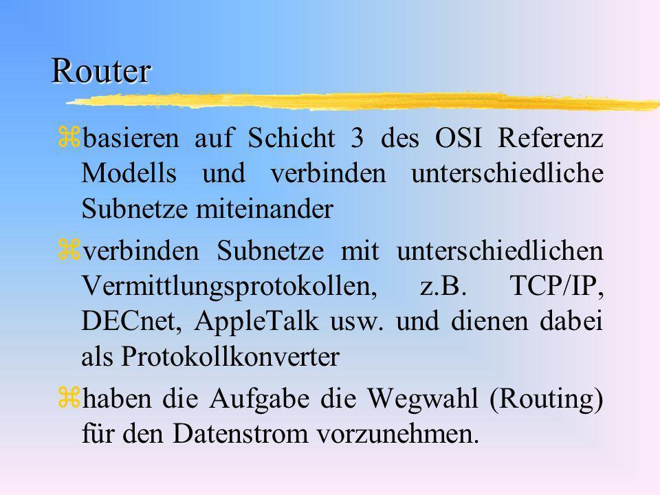 Router zbasieren auf Schicht 3 des OSI Referenz Modells und verbinden unterschiedliche Subnetze miteinander zverbinden Subnetze mit unterschiedlichen