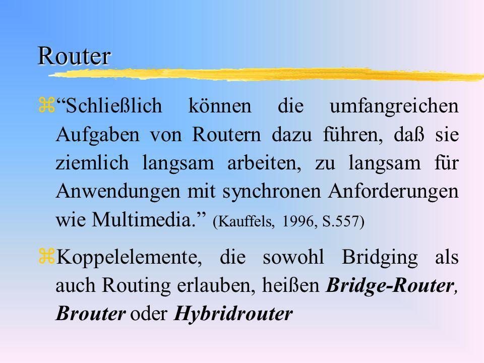 Router zSchließlich können die umfangreichen Aufgaben von Routern dazu führen, daß sie ziemlich langsam arbeiten, zu langsam für Anwendungen mit synch
