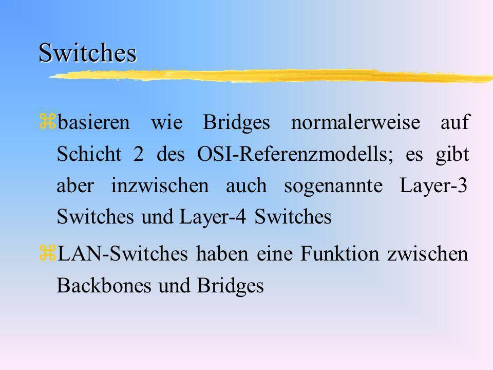 Switches zbasieren wie Bridges normalerweise auf Schicht 2 des OSI-Referenzmodells; es gibt aber inzwischen auch sogenannte Layer-3 Switches und Layer