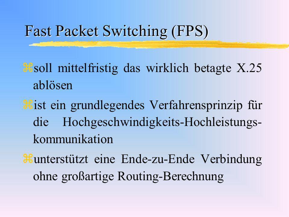 Fast Packet Switching (FPS) zsoll mittelfristig das wirklich betagte X.25 ablösen zist ein grundlegendes Verfahrensprinzip für die Hochgeschwindigkeit