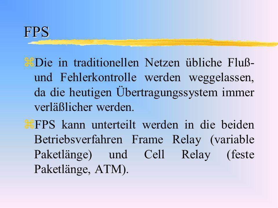 FPS zDie in traditionellen Netzen übliche Fluß- und Fehlerkontrolle werden weggelassen, da die heutigen Übertragungssystem immer verläßlicher werden.