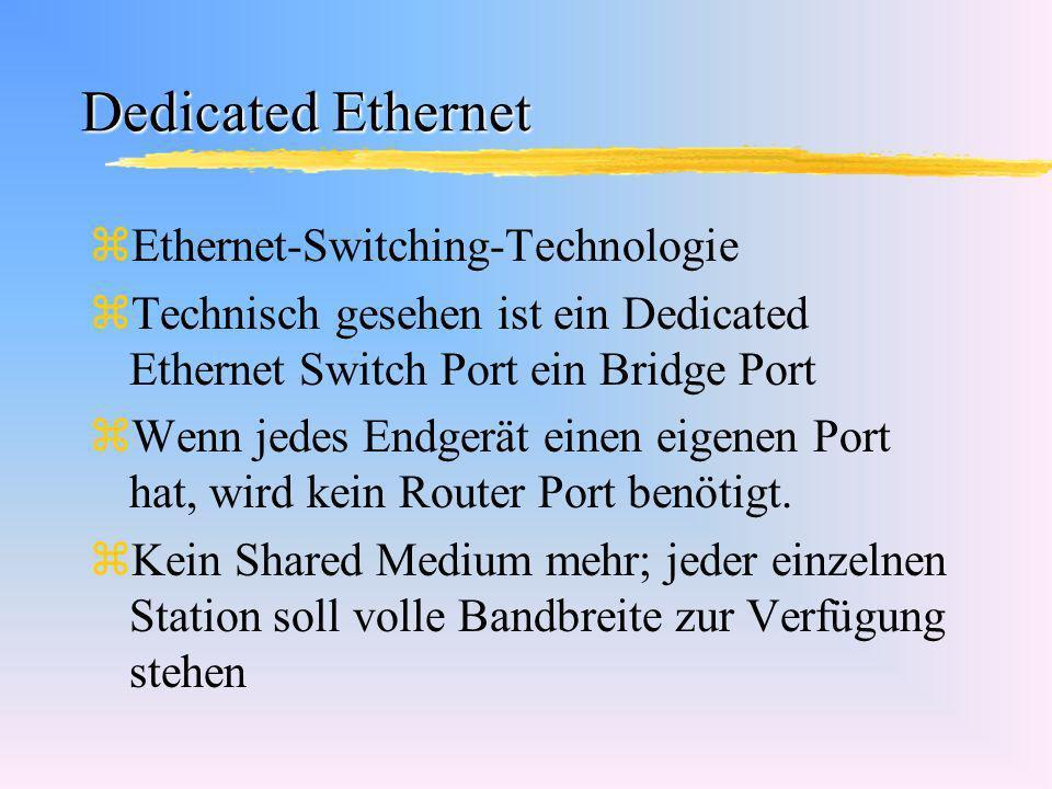 Dedicated Ethernet zEthernet-Switching-Technologie zTechnisch gesehen ist ein Dedicated Ethernet Switch Port ein Bridge Port zWenn jedes Endgerät eine