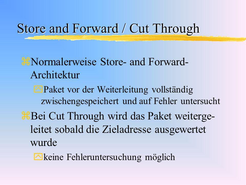 Store and Forward / Cut Through zNormalerweise Store- and Forward- Architektur yPaket vor der Weiterleitung vollständig zwischengespeichert und auf Fe