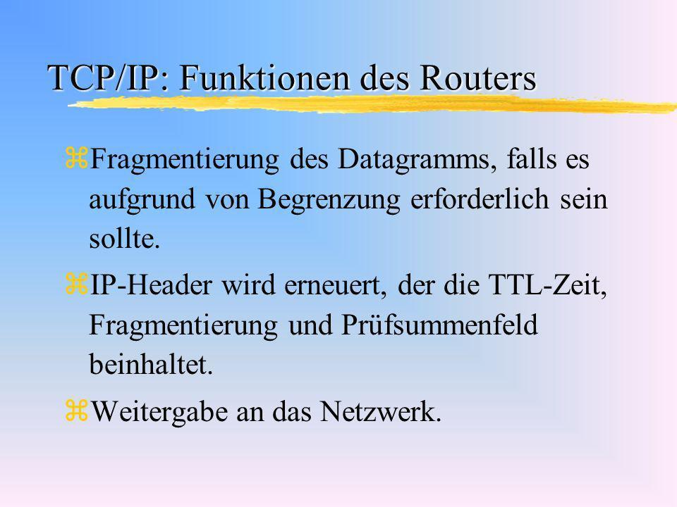 TCP/IP: Funktionen des Routers zFragmentierung des Datagramms, falls es aufgrund von Begrenzung erforderlich sein sollte. zIP-Header wird erneuert, de