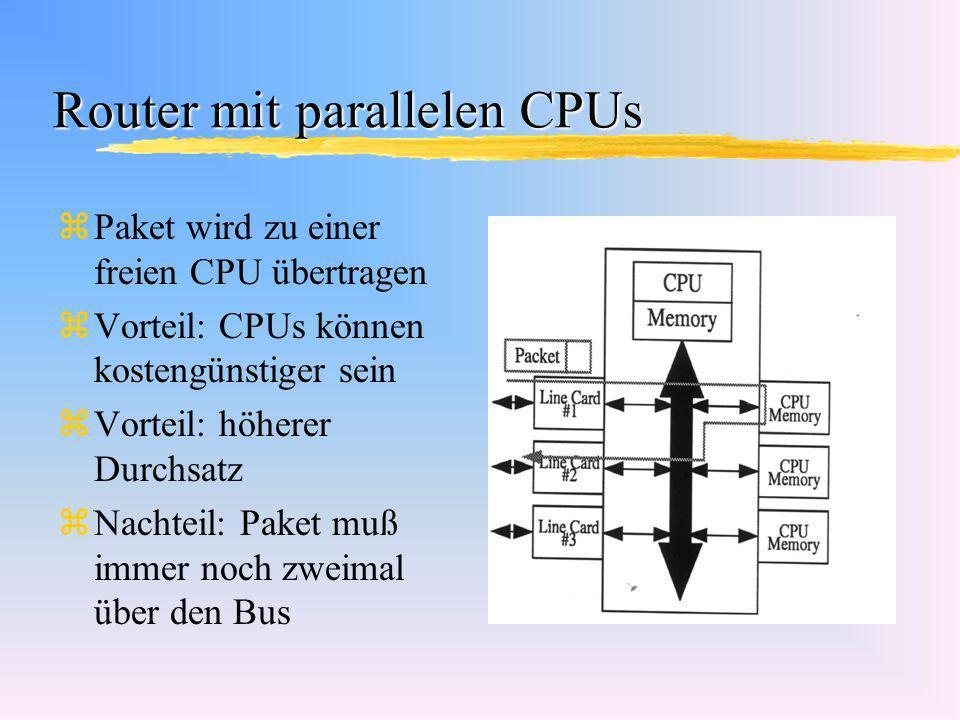 Router mit parallelen CPUs zPaket wird zu einer freien CPU übertragen zVorteil: CPUs können kostengünstiger sein zVorteil: höherer Durchsatz zNachteil