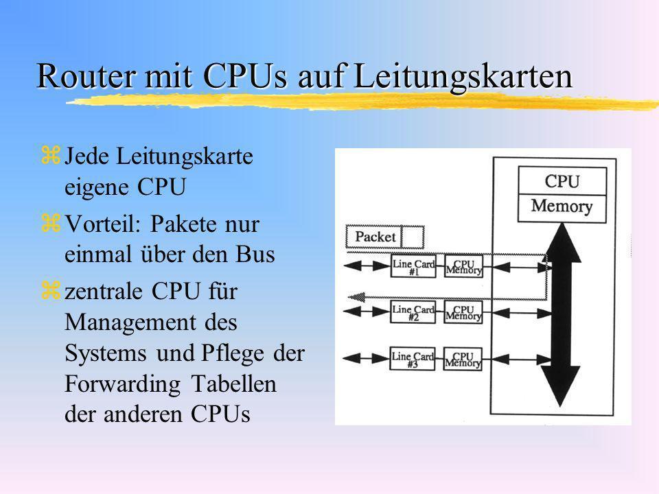 Router mit CPUs auf Leitungskarten zJede Leitungskarte eigene CPU zVorteil: Pakete nur einmal über den Bus zzentrale CPU für Management des Systems un