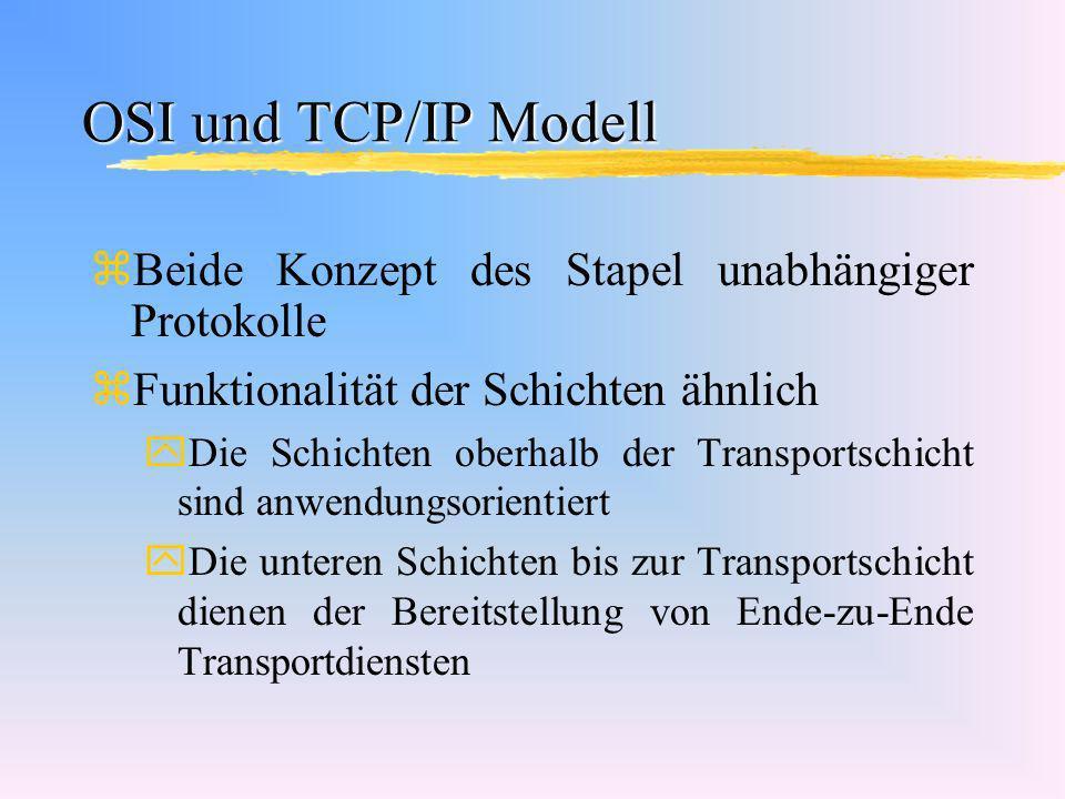 OSI und TCP/IP Modell zBeide Konzept des Stapel unabhängiger Protokolle zFunktionalität der Schichten ähnlich yDie Schichten oberhalb der Transportsch
