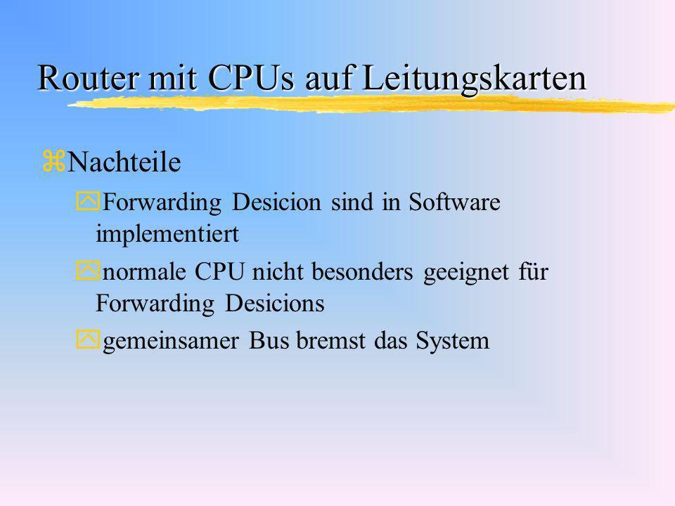 Router mit CPUs auf Leitungskarten zNachteile yForwarding Desicion sind in Software implementiert ynormale CPU nicht besonders geeignet für Forwarding