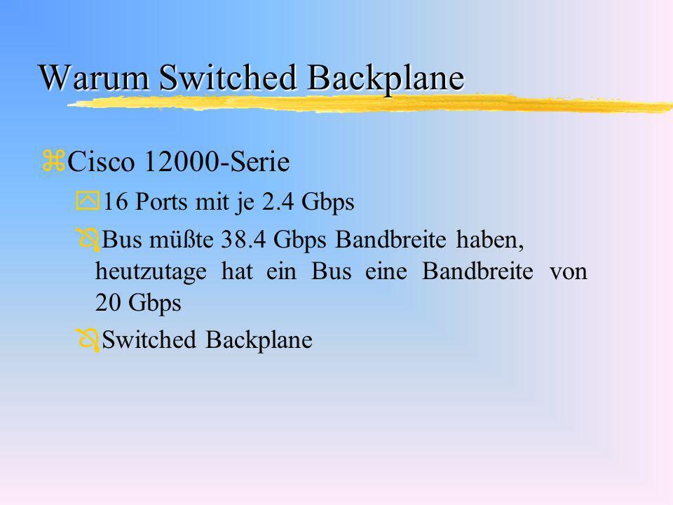 Warum Switched Backplane zCisco 12000-Serie y16 Ports mit je 2.4 Gbps Ô Bus müßte 38.4 Gbps Bandbreite haben, heutzutage hat ein Bus eine Bandbreite v